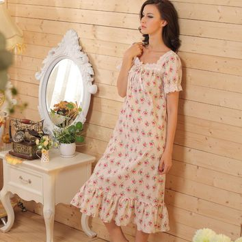 Short Sleeve Floral Long Nightgown Cotton Blends Cute Floral Nightgown Vintage Women Sleepwear