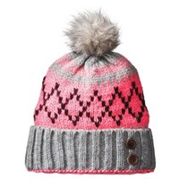 Crochet Beanie Hat with Ball - Pink/Gray