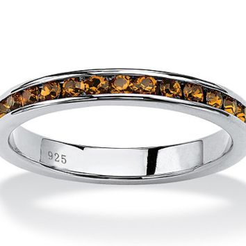 Orange 2mm Eternity Band of Simlulated Citrine in Sterling Silver