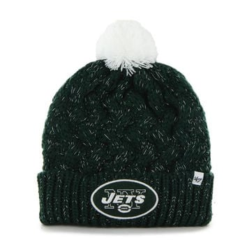 New York Jets - Logo Fiona Women's Dark Green Pom Pom Beanie