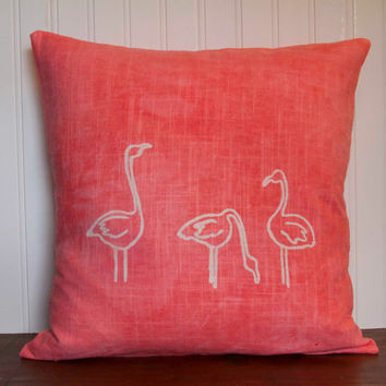 "Flamingo Pillow- 16""x16"" Decorative Throw Pillow Cover with screen printed flamingos on coral pink linen"