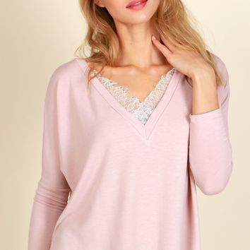 Lace Of My Life Top Deep Pink