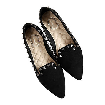 Rivet Flat Plus Size Low-cut Fluff Pointed Thin Shoes  black  35
