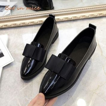Classic Brand Shoes Women Casual Pointed Toe Black Oxford Shoes Spring Autumn Women Flats Comfortable Slip on Women Shoes A194