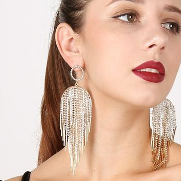 Retro Rhinestone Tassel Earrings Crystal Luxury Earrings Large Long Dangle