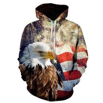 All Over Print American Flag With Eagle Hoodie Sweater