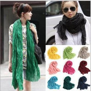 2016 Brand Fashion Casual Foulard All-match Solid Soft Cotton Long Scarf Women Scarves
