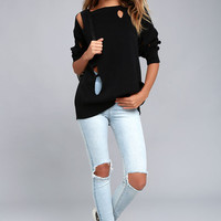 Cheap Monday Bright Knit Black Distressed Sweater