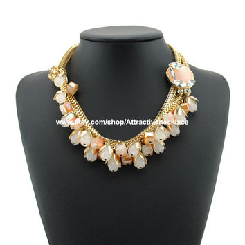 Gold Chain Necklace Layers Statement Necklace Jewelry Large Rhinestone Statement Necklace Jewelry Wholesale Women Necklace Jewelry