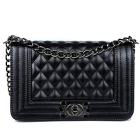 Brand Fashion Woman Bag Promotional Ladies luxury PU Leather Handbag Chain Shoulder Bag Plaid  Women Crossbody Bag