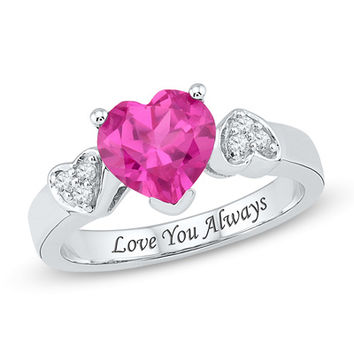 Heart-Shaped Lab-Created Pink Sapphire and 1/10 CT. T.W. Diamond Promise Ring in Sterling Silver (15 Characters)