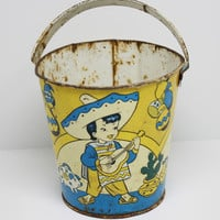 Vintage Ohio Art Sand Pail Bucket Mexican Theme Lithograph with Handle