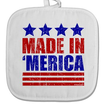 Made in Merica - Stars and Stripes Color Design White Fabric Pot Holder Hot Pad