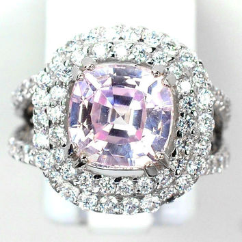 A Vintage 4.6CT Cushion Cut Pink Kunzite Double Halo Anniversary Ring
