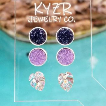 Druzy earring set- Navy/ Lilac Monstra leaf drusy stud set
