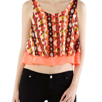 Crop Tank with Necklace - Rainbow