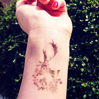 1pcs Watercolor  Roe Deer floral  tattoo - InknArt Temporary Tattoo - wrist quote tattoo body sticker fake tattoo wedding tattoo