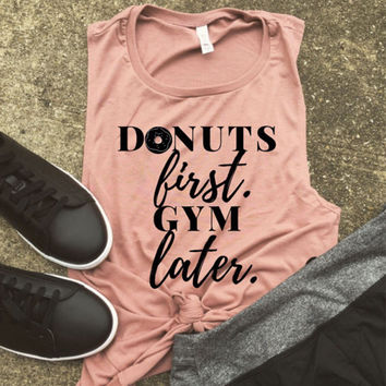 """Women's """"Donuts First, Gym Later"""" Graphic Printed Sleeveless Tank Top T-Shirt"""