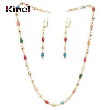 Kinel Colorful Enamel Woman Jewelry Set Fashion Dubai Gold Drop Earrings Necklace Bracelet Vintage Wedding Jewelry Wholesale