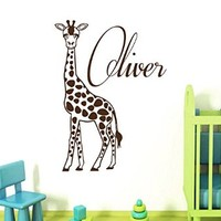 Wall Decals Vinyl Decal Sticker Monogram Custom Boy Personalized Name Animals Lover Giraffe Jungle Zoo Interior Design Bedroom Living Room Kids Nursery Baby Room Decor