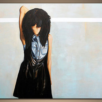 "Newly Discounted Large Original Contemporary Painting Abstract Modern Art Portrait Woman 36' x 48'......""Emo Girl"".....by Danielle Marie"