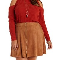Plus Size Rust Ribbed Cold Shoulder Turtleneck Top by Charlotte Russe