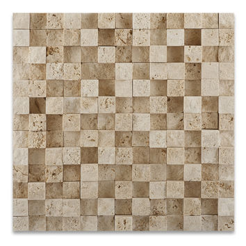 1 X 1 Ivory Travertine HI-LOW Split-Faced Mosaic Tile