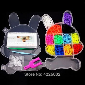 Colorful Rubber Loom Bands Weaving Braided Elastic gum Tool DIY Charms Kit Box Kids Plaiting Toys for Bracelet Children Girls