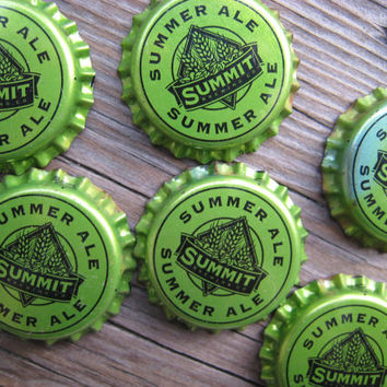 Lime Green Craft Beer Magnets - Half Dozen - Minnesota Bottle Cap Magnets - Man Cave Stuff - Gift for Guys - Beer Art - Bar Decorations