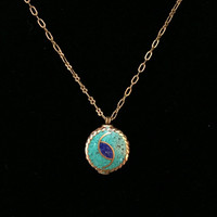Turquoise-lapis lazuli-stone-mosaic-inlay-bronze-disc-bead-eye-charm-pendant-necklace