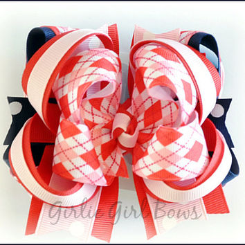 Boutique hair bow, Boutique stacked bow, Pink and navy bow, Back to School bow, Uniform bow, Hair bows for girls, Pageant bow, Argyle bow