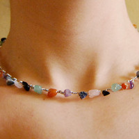 Silver Wire Wrapped Choker with Rainbow Stones