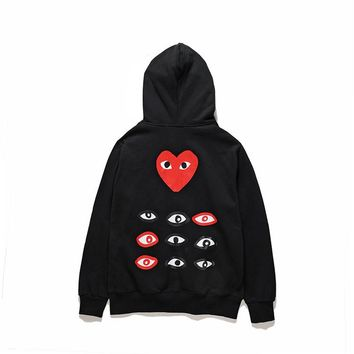 PLAY street fashion men's and women's casual cardigan hooded sweater Black