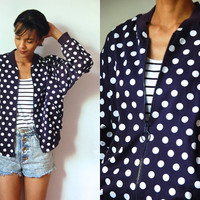 Vtg Zip Up Polka Dots Navy White Cotton Jacket w Pockets
