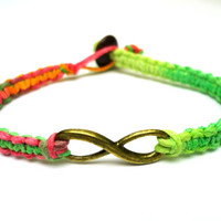 Infinity Bracelet, Neon Macrame Hemp Jewelry, Brass Charm, Couples, Friendship Bracelet - Free North American Shipping