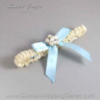 "Alice Blue and Ivory Narrow Wedding Garter or Bridal Pearl Toss Garter ""Natalie 03"" Silver"