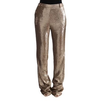 Cavalli Gold Viscose Sequined Bootcut Pants