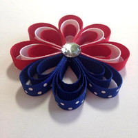 Red, White and Blue Flower Ribbon Sculpture,4th of July Hair Clip, Girls Hair Accessory, Girls Hair Bow, Girls Hair Clip, Grosgrain Hair Bow