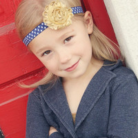 Navy and Gold Headband for Girls - Gold Flower Head Band for Girls - Navy and White Polka Dot Headband for Toddler - Gold and Navy Headband