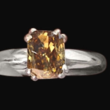 1.25 carat radiant cut brown cognac diamond solitaire ring white gold jewelry