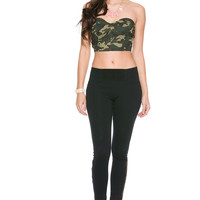 Foreign Exchange :: WOMEN :: TOPS :: BODYSUITS & BUSTIERS :: PIN UP CAMOFLAUGE BUSTIER TOP