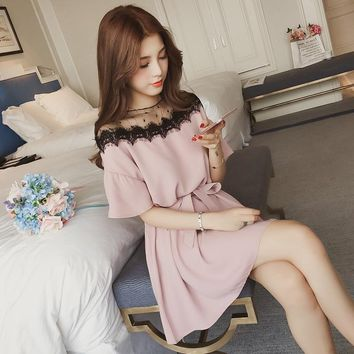 4xl plus big size women clothing 2019 spring summer style korean new mesh stitch pink black cute sweet party dress female A4299