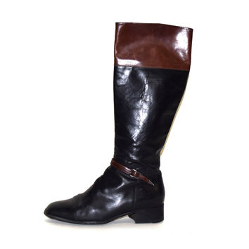 Vintage Leather Riding Boots, Size 8.5