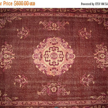 ON SALE Brick Red Color Overdyed Handmade Rug  with Medallion Design 10'1'' x 6'3'' feet