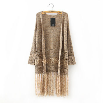 Autumn Women's Fashion Hollow Out Tassels Patchwork Sweater Jacket [5013118660]