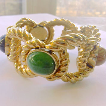 Ciner Haute Couture Statement Bracelet Chunky Runway Collectible Designer Jewelry