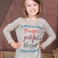 Girls' Thankful Grateful Blessed Tan Tunic