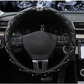 Diamond Crystal Crown Set Auger Car Steering Wheel Cover