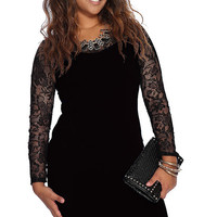 See-Through Sleeve Casual Plus Size Dress