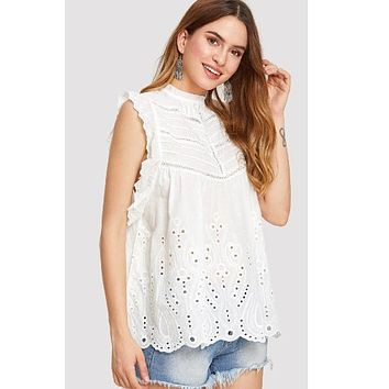 Eyelet Embroidered Frill Trim Blouse